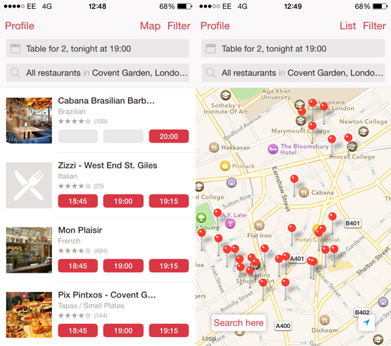MustHave London Apps - Open table app for android
